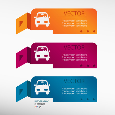 Car on origami paper banners. Can be used for workflow ... Car Layout Diagram on