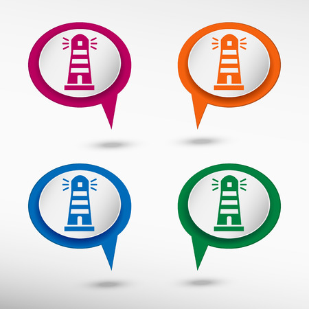 Lighthouse icon on colorful chat speech bubbles