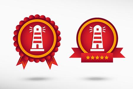 Lighthouse icon stylish quality guarantee badges. Colorful Promotional Labels