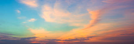 Photo for Panoramic beautiful colorful golden hour twilight sky. Beautiful cloud and sky nature background in magic hour. Amazing colorful sky and dramatic sunset evening sky. - Royalty Free Image