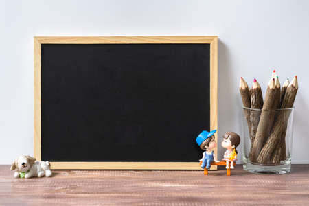Photo pour Mockup blank black chalkboard for your text or artwork. Frame with a copy space. Lover background concept. - image libre de droit