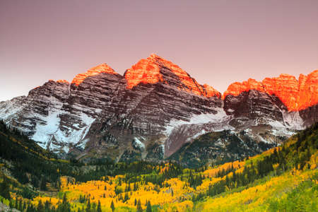 Maroon Bells sunrise, White River National Forest, Colorado