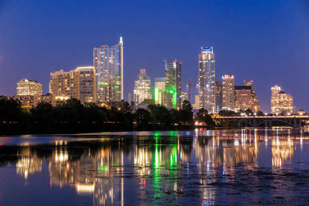 Photo for Beautiful Austin skyline reflection at twilight, Texas - Royalty Free Image