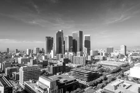 Downtown LA Los Angeles skyline cityscape California in black and white