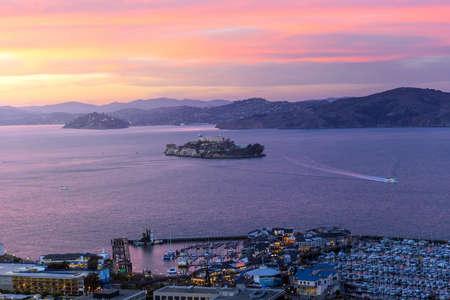 Alcatraz Island in San Francisco, USA at sunset