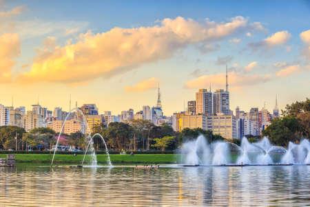 Sao Paulo skyline from Parque Ibirapuera park in Brazil