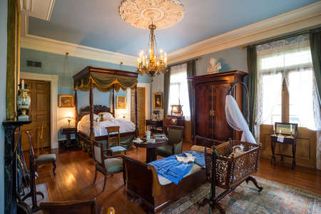 NEW ORLEANS - AUGUST 24: Interior of Oak Alley Plantation, Louisiana on August 24, 2015. Oak Alley Plantation is a historic plantation located on the west bank of the Mississippi River