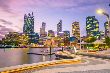Photo for Downtown Perth skyline in Australia at twilight - Royalty Free Image