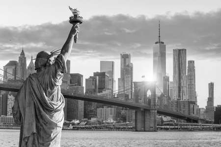 Statue Liberty and  New York city skyline in black and white,  in United States