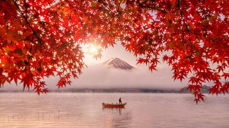 Foto per Colorful autumn season and Mountain Fuji with red leaves at lake Kawaguchiko in Japan - Immagine Royalty Free