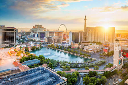 Foto für cityscape of Las Vegas from top view in Nevada, USA at sunset - Lizenzfreies Bild