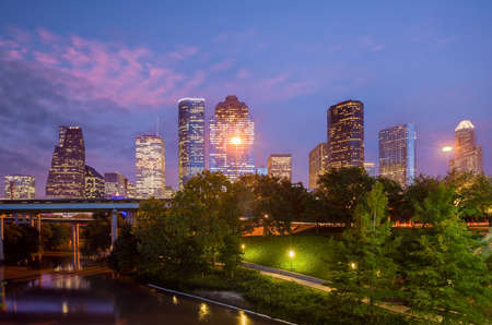 Photo for Houston city downtown skyline cityscape of Texas USA at sunset - Royalty Free Image