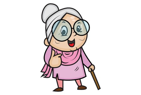 Illustration for Vector cartoon illustration of cute grandmother showing thumbs up. Isolated on white background. - Royalty Free Image