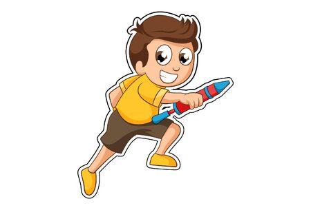Ilustración de Vector cartoon illustration of boy with holi pichkari. Isolated on white background. - Imagen libre de derechos
