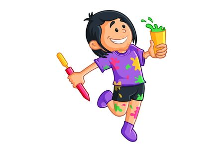 Illustration for Vector cartoon illustration of boy with holi colors and pichkari. Isolated on white background. - Royalty Free Image