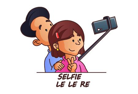 Vector cartoon illustration. Boy and girl is taking selfie in phone with selfie stick. Selfie le le re hindi text translation - take selfie. Isolated on white background.