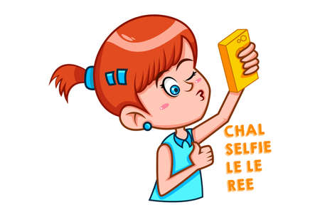 Vector cartoon illustration. Cute girl is taking selfie. Chal selfie le le ree Hindi text translation - Let's take a selfie. Isolated on white background.