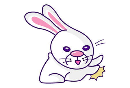 Illustration pour Vector cartoon illustration. Cute bunny is fighting. Isolated on white background. - image libre de droit