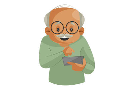 Illustration for Vector graphic illustration. Grandfather is operating a smartphone. Individually on a white background. - Royalty Free Image