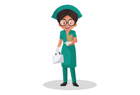 Illustration for Vector graphic illustration. Nurse is holding a file in one hand and medical kit in other hand. Individually on white background. - Royalty Free Image