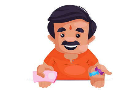 Illustration for Shopkeeper showing money and toffee in hand. Vector graphic illustration. Individually on a white background. - Royalty Free Image