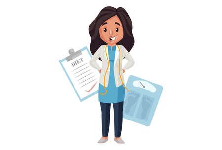 Illustration pour Lady nutritionist is standing with weighing machine and diet chart. Vector graphic illustration. Individually on a white background. - image libre de droit