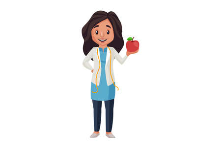 Illustration pour Lady nutritionist is holding apple in hand. Vector graphic illustration. Individually on a white background. - image libre de droit