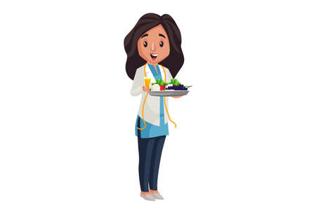 Illustration pour Lady nutritionist is holding vegetables and fruits plate in hand. Vector graphic illustration. Individually on a white background. - image libre de droit