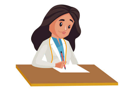 Illustration pour Lady nutritionist is sitting holding notepad in hand. Vector graphic illustration. Individually on a white background. - image libre de droit