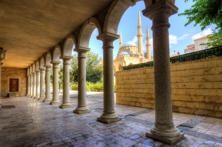 The Mohammad Al-Amin Mosque situated in Downtown Beirut in Lebanon as viewed through the pi