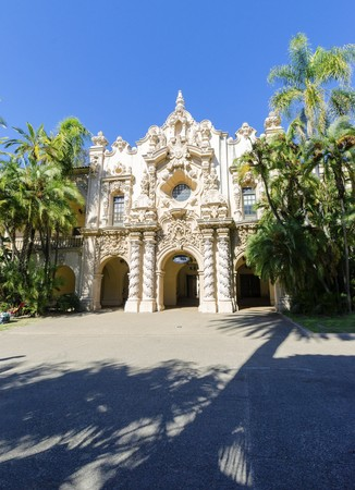 The entrance of the historic landmark Casa Del Orado, decorated with carved baroque wall of spanish colonial architecture, located at Balboa Park, San Diego, California, United States of America
