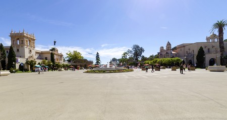 The courtyard, Plaza de Panama around the Casa del Prado and museum of Man in Balboa park in San Diego, southern California, United States of America. A park filled with outdoor recreational activities.
