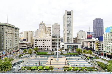 A day view of the Union Square in downtown San Francisco, California, United States. A landmark of the area with a column of a statue of Victory holding a trident on top in the heart of the city center.