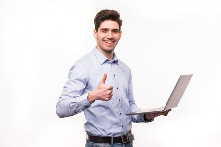 Photo for businessman with laptop computer showing his thumbs up. Isolated on white - Royalty Free Image