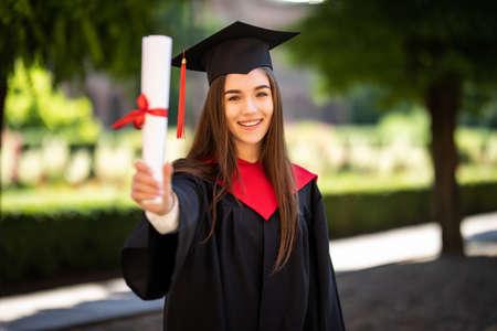 Photo pour Woman portrait on her graduation day. University. - image libre de droit