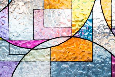Photo pour stained colorful christ glass . abstract multicolor - image libre de droit