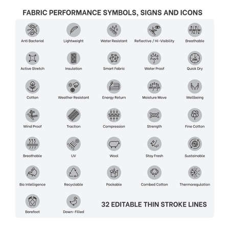 Illustration pour Sportswear Product and fabric feature icons, Active wear Performance icons and symbols for Sportswear products and garments, Fabric properties and textile  special feature signs and symbols icon set. - image libre de droit