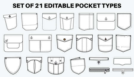 Illustration for Patch pocket flat sketch vector illustration set, different types of Clothing Pockets for jeans pocket, denim, sleeve arm, cargo pants, dresses, garments, Clothing and Accessories - Royalty Free Image