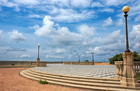 Photo for Mascagni Terrace, promenade of Livorno, picturesque seashore in Tuscany, Italy, Europe - Royalty Free Image