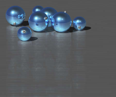 Christmas blue ball on dark metallic background