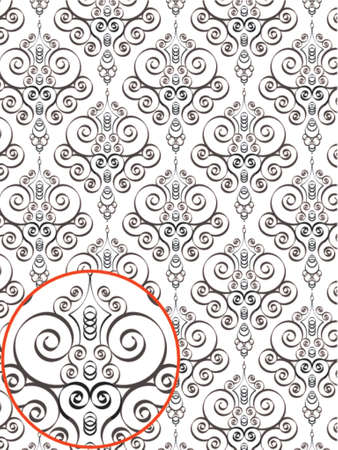 Damask Style Pattern Background - BN texture - Vector Include layer whit pattern design sourceのイラスト素材