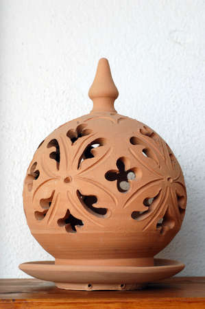 Traditional lamp, hand made ceramic clay, Handicrafts of Sicily