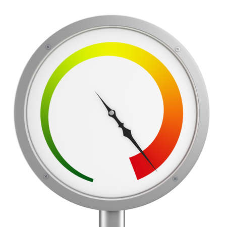 pressure gauge isolated on white background in red area closeup