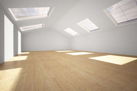 Empty Gym with hardwood floor and sunlight
