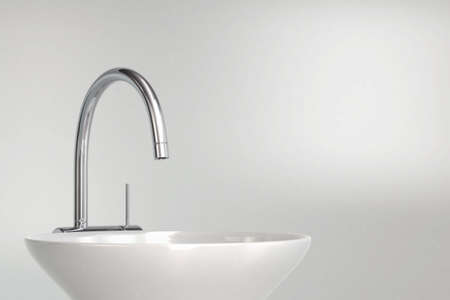 Hand washing basin with grey background 3d