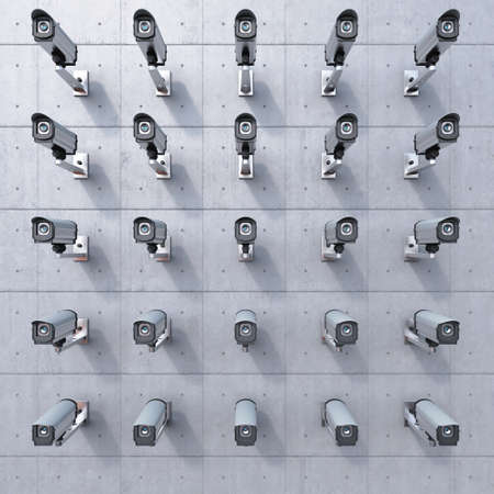 25 cctv camera watching you on concrete wall