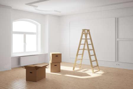Foto de Empty room with ladder and cardboard boxes and hardwood floor - Imagen libre de derechos