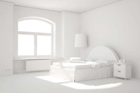 Empty white bed room with window and curtain minimal template