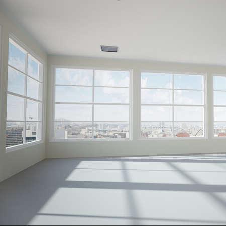 Foto de Empty modern office room with urban skyline - Imagen libre de derechos