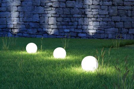 Glowing spheres in garden by night backyard